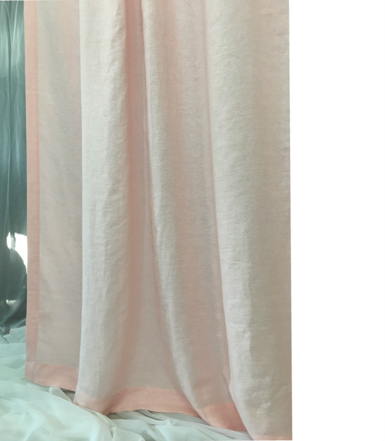Pink linen shower curtain - Mildew-Free, 72x72, 72x85, 72x94 ...