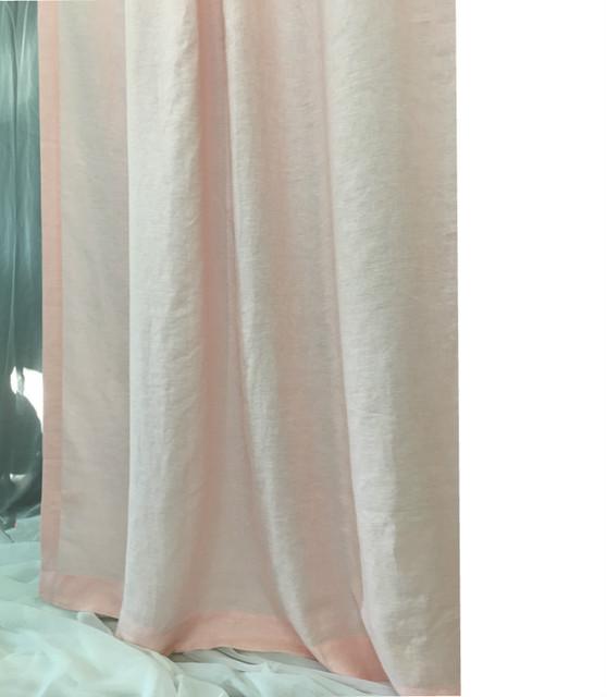 Pink linen shower curtain - Mildew-Free