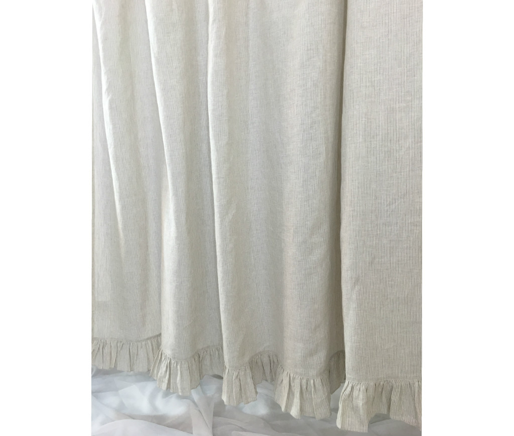 Linen Ticking Striped Shower Curtain with Ruffle Hem - - Mildew ...