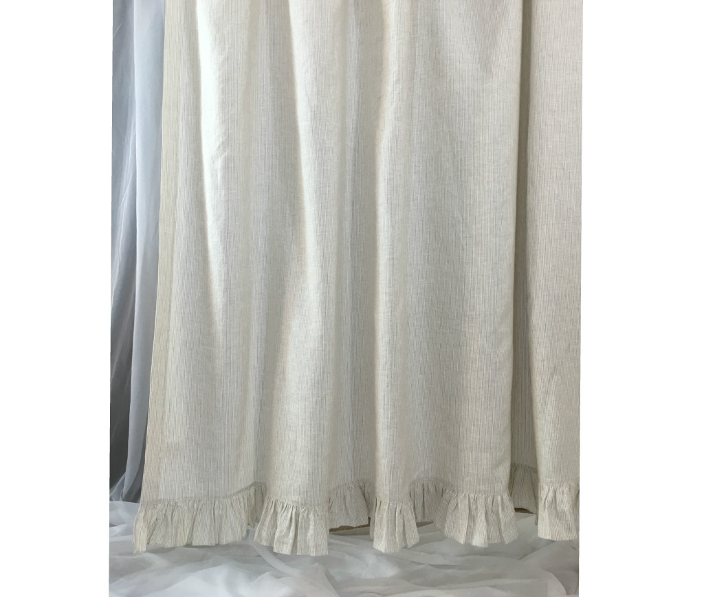 Linen Stripe Kitchen Curtains: Linen Ticking Striped Shower Curtain With Ruffle Hem