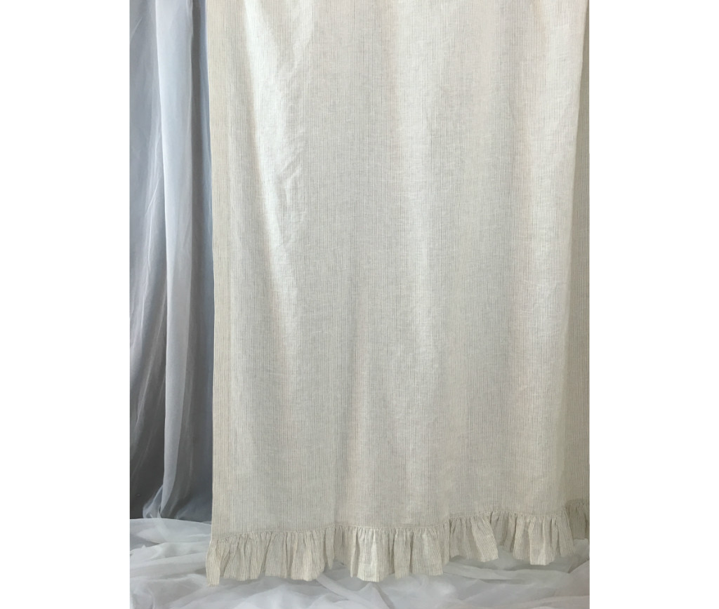 Linen Ticking Striped Shower Curtain with Ruffle Hem Mildew