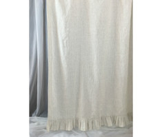 Linen Ticking Striped Shower Curtain with Ruffle Hem