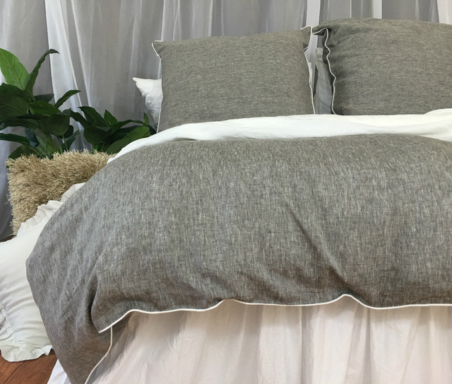 Chambray Grey Linen Duvet Cover with Soft White Piping, Available in Twin, Full, Queen, King, Calif. King or Custom size