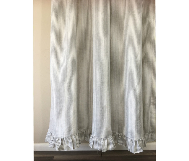 Grey and White Striped Shower Curtain with Ruffle Hem