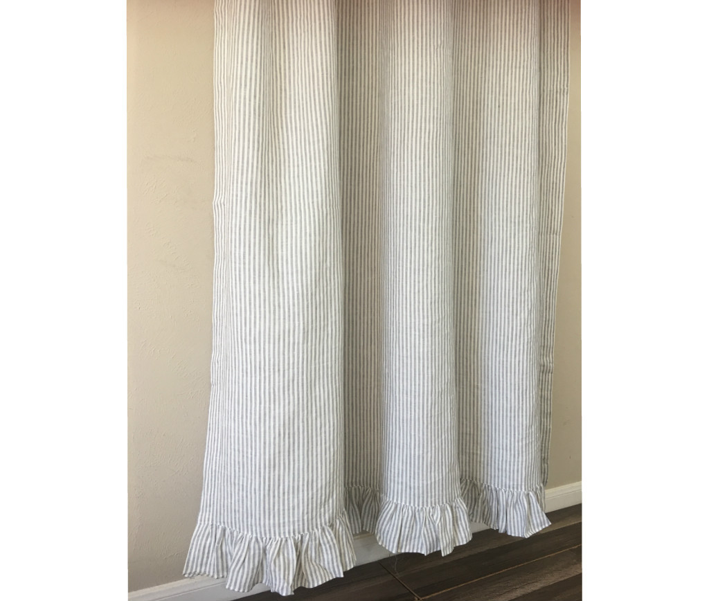 Grey Stripe Linen Shower Curtain Features Ruffle Hem Mildew Free 72x72 72x85 72x94 Custom