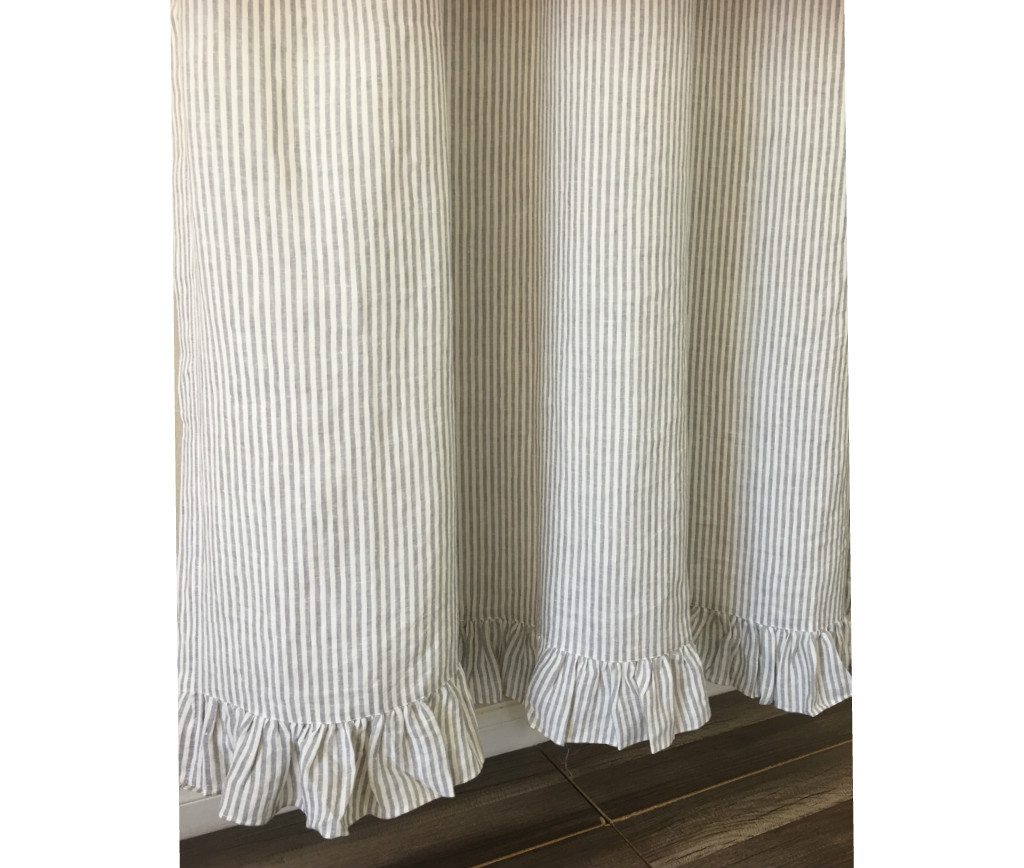 gray and white striped shower curtain. Grey and White Striped Shower Curtain with Ruffle Hem  striped linen shower curtain stripe Linen features ruffle hem Mildew Free