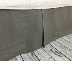 Medium Grey Tailored Linen Bed Skirt