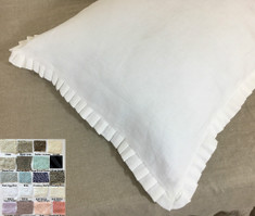 Pleated Petite Ruffled Linen Euro Sham Cover - Pick your color