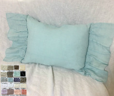 Lumbar Linen Pillow Case with Country Ruffles - Pick Your Color