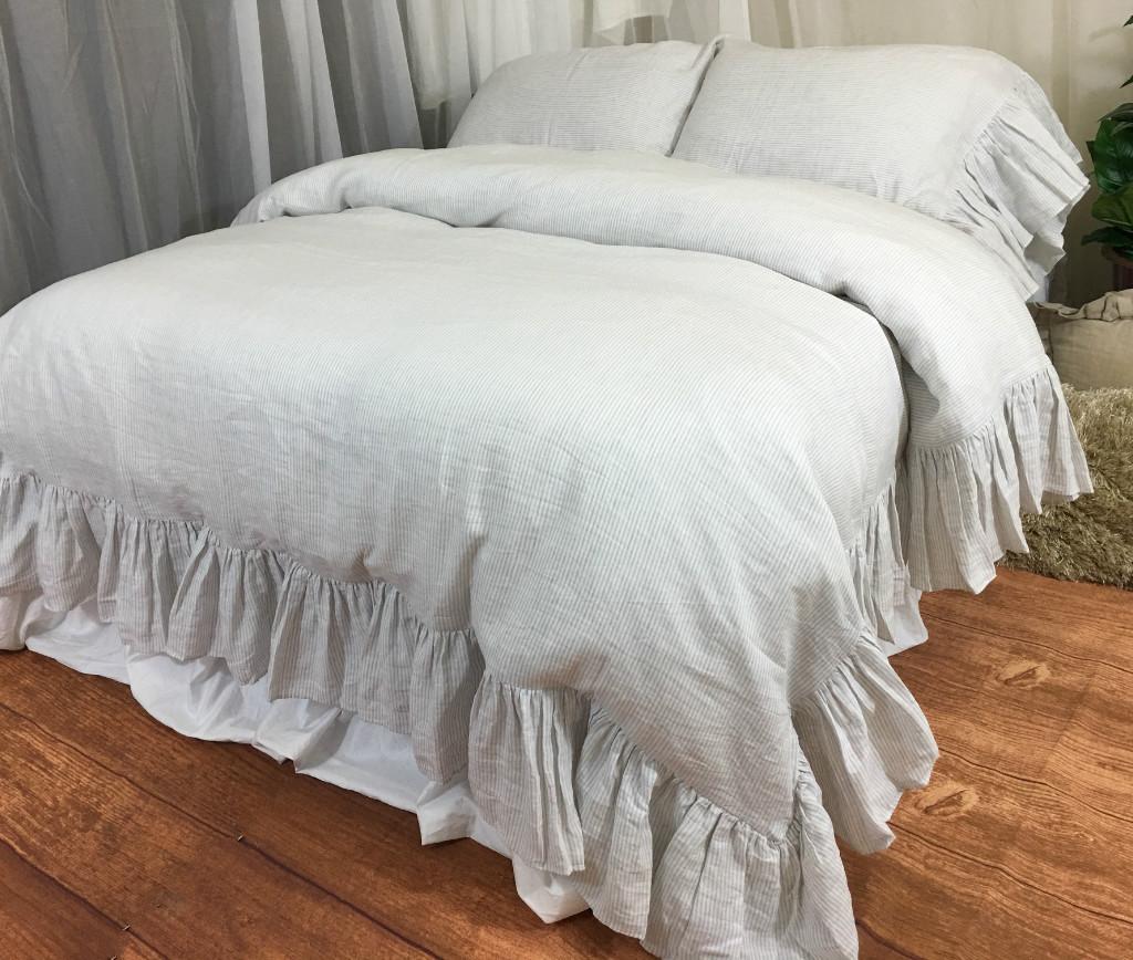 Grey Ruffle Duvet Cover Sweetgalas