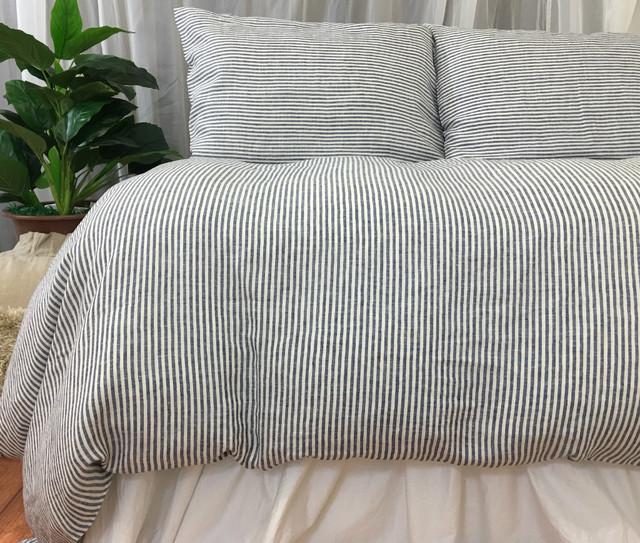 Bengal Stripe Denim Linen Duvet Cover
