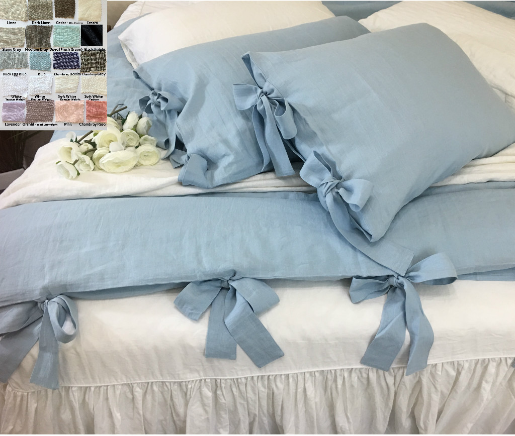 duvet cover with bow ties u2013white grey cream pink blue stripe