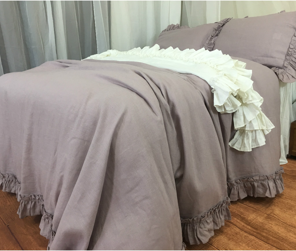 Orchid Linen Duvet Cover With Vintage Ruffles