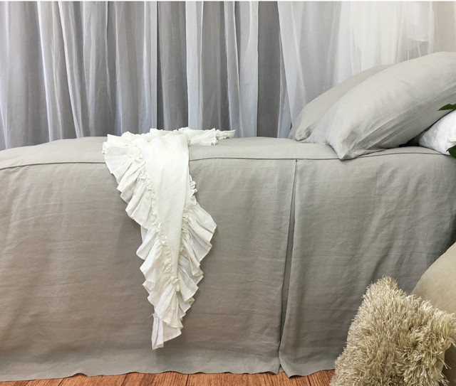 grey bed cover