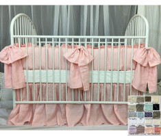 Crib Bedding Set with Large Bows and Sash Ties - Pick Your Color