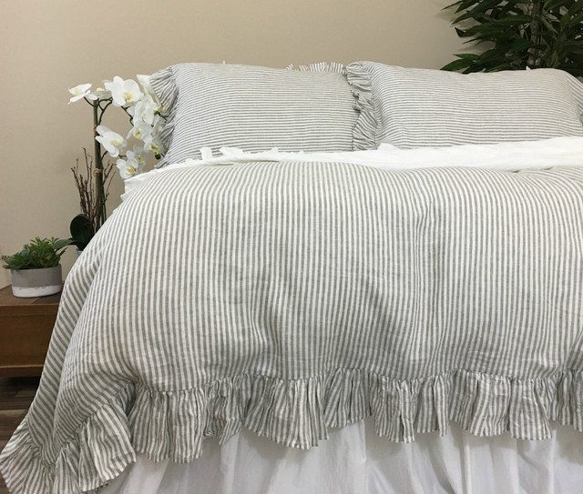 Ruffled Pinstripe Duvet Cover in Grey and White