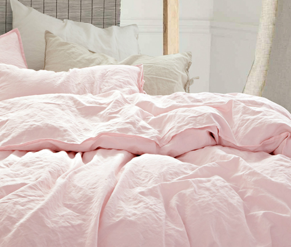 dusty pink duvet cover natural flax