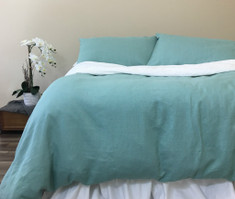 Moss Green Linen Duvet Cover, Warm and Cozy!