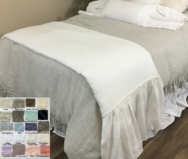 Linen Long Ruffle Bed Scarf, Bed Runner, Multiple Colors, Awe so adorable!