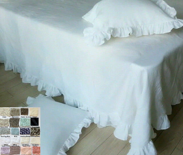 Natural Linen Bed Throw Blanket with Ruffles, Luxe ruffles throw!