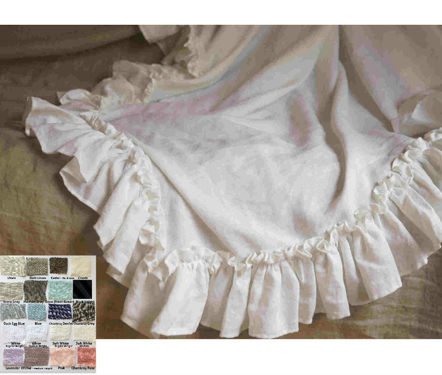 Natural Linen Throw Blanket with Vintage Ruffles Styles, Timeless Ruffle Throw!