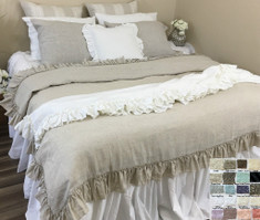 Natural Linen Throw Blanket with Vintage Ruffles Styles