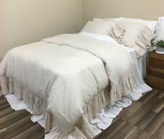 Cream Linen Duvet Cover with Mermaid Long Ruffles, Sumptuous Soft