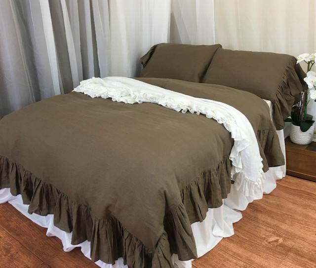 Cedar Dark Brown Natural Linen Duvet Cover with Mermaid Long Ruffles, Sumptuous style