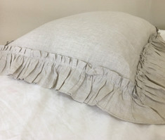 Linen Euro Sham Cover with Vintage Ruffles, Undyed Natural Linen, Healthiest Choice!