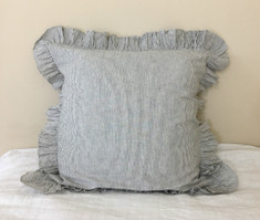 Subtle black and white Ticking Striped Euro Sham Cover with Ruffles