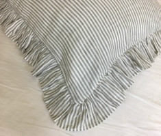 Grey and White Striped Ruffle Euro Sham Covers, Classic Stripe with Luxury Ruffles!