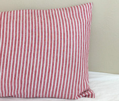 Red and White Striped Linen Sham Cover, All sizes available – Farmhouse Comfy