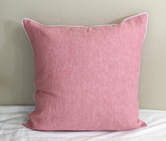 Chambray Rose Linen Euro Sham with White Piping Finish