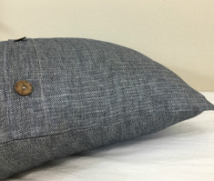 linen euro sham with wooden buttons