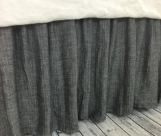 Chevron Ink Linen Bed Skirt, chevron weave on both sides, Distinct Style