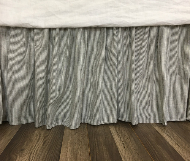 Subtle Black and White Striped Bed Skirt, Natural Linen Flax Bed Skirt, Classic!