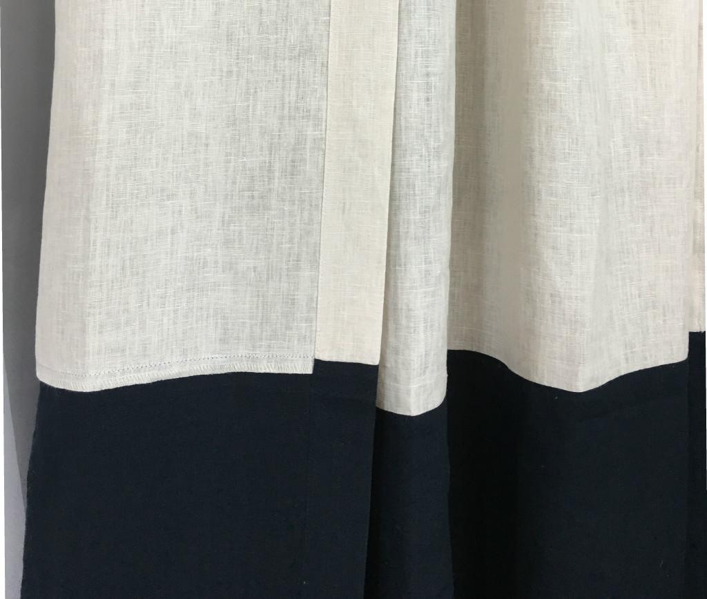 Color Block Curtains Natural Linen Color Block Curtains
