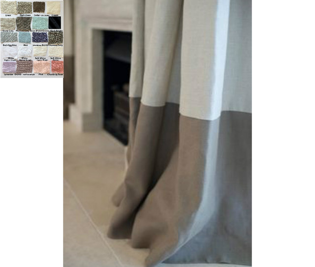 Color Block Curtains, Multiple Colors, Custom Size