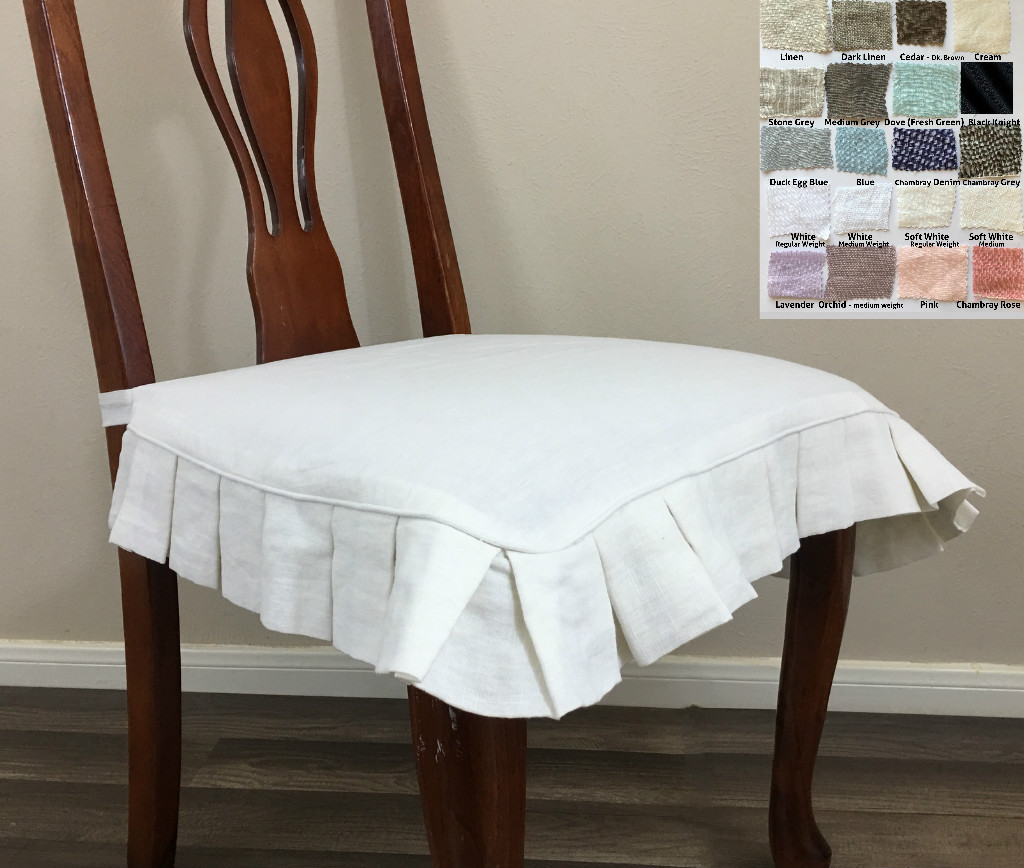 Linen Chair Cover linen chair seat cover with pleated ruffles – multiple colors