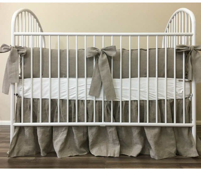 Dark Linen Baby Bedding Set with Sash Ties, Rustic Nursery Charm!