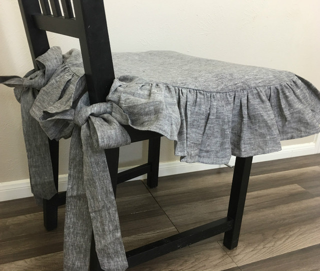 Chambray Grey Linen Chair Slipcover with Ballerina Sash Ties