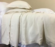 Cream Pleated Ruffle Linen Duvet Cover