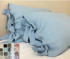 Linen pillow cases with bow ties