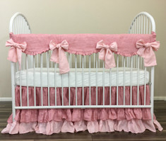 Chambray Rose Linen Rail Cover with Pink Ties, Natural Linen Baby Bedding – Mix and Match Your Ways to a Dreamy Baby Room