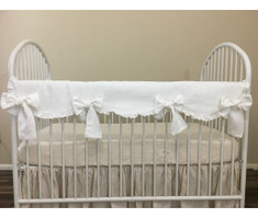 White Linen Scalloped Rail Cover with Tie