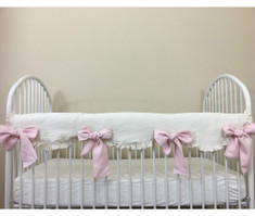Cream Linen Rail Cover Scalloped with Blush Pink Bow Ties – Mix and Match Your Way