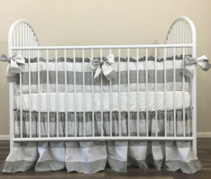 Grey and White Striped Linen Baby Bedding Set with Bow Ties – Playing with Stripes