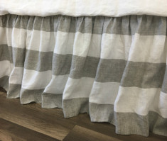 Grey and White Striped Linen Bed Skirt, Gathered Ruffle – Stripe Beauty!