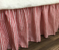 Red and White Striped Bed Skirt, Natural Linen – Farmhouse Beauty!