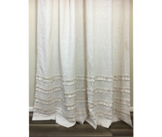 Cream Linen Shower Curtain with 4 Rows of Ruffles – Stunning!